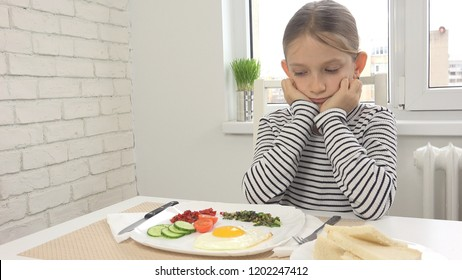 Sick Child Couldn't Eat Breakfast in Kitchen, Looking Food Meal, No Appetite