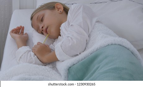 Sick Child in Hospital Bed, Ill Kid with Thermometer, Suffering Sleeping Girl, Pills Medicine