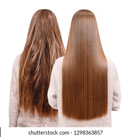 Sick, cut and healthy hair care keratin. Before and after treatment.