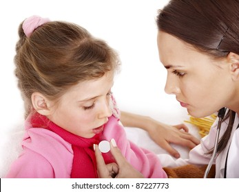 Sick little girl with doctor. Isolated.