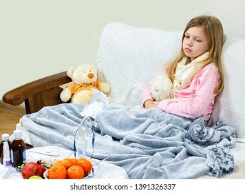 A sick little girl takes medication and eats fruit.