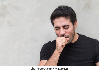 sick man coughing, sore throat