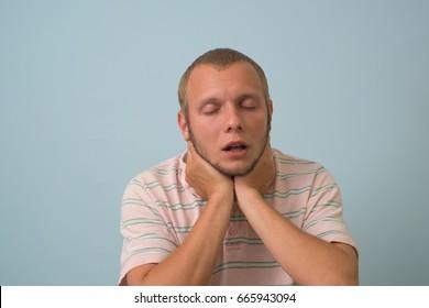 sick man has a sore throat