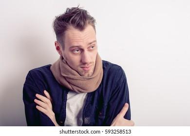 sick man in scarf
