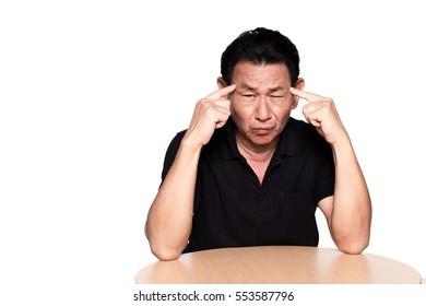 sick old man suffering from headache, migraine, dementia, mental disorder problem