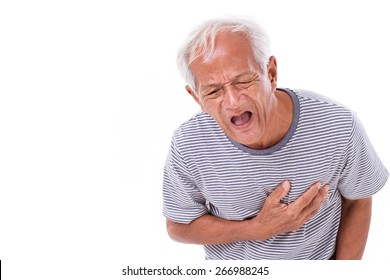 sick old man suffering from heart attack or breathing difficulties