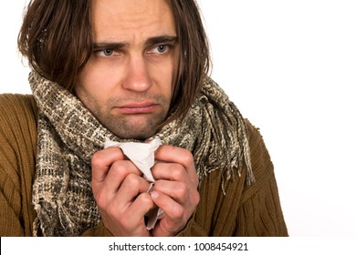 Sick person with symptoms of virus flu, headache, temperature and cough with a napkin. Healthcare medical and pharmaceutical concept. Isolated on abstract white background