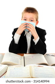 Sick Schoolboy in Flu Mask Isolated on the White Background