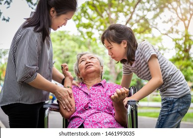 Sick senior grandmotherwith epileptic seizures in outdoor,elderly patient convulsions suffering from illness with epilepsy during seizure,asian daughter,granddaughter cry,brain,nervous system concept