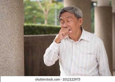 sick senior man coughing, old man cough