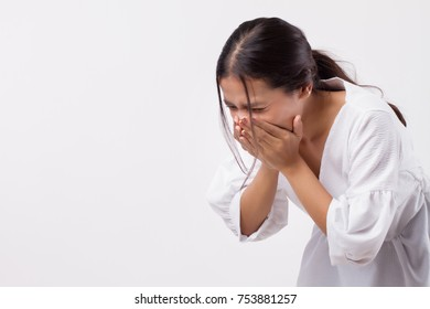 sick sneezing woman with sore throat, cold, flu