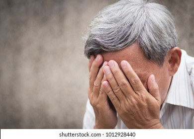 sick stressed failed old senior man doing facepalm, face palm gesture; unhappy sad hopeless jobless unemployed poor old aged senior man, pensioner, retired old man; gray hair senior, grandpa man model