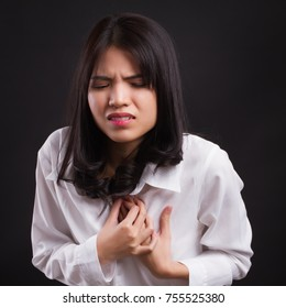 sick stressed woman with acid reflux, gerd symptoms
