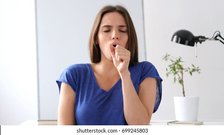 Sick  Woman Coughing, Throat infection