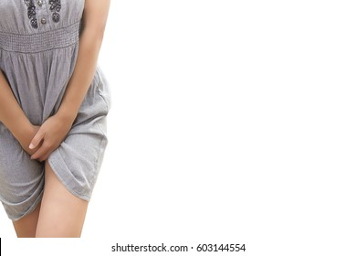sick woman with hands holding her crotch pressing the lower abdomen