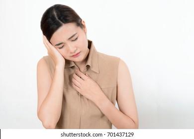 sick woman with headache, migraine, pain, stress