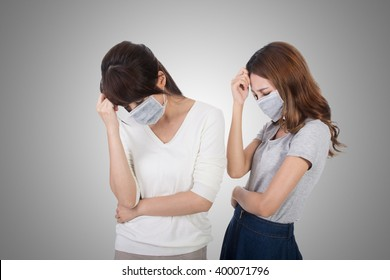 Sick woman with her friends with mask.