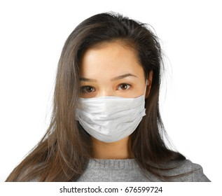 Sick woman isolated on white background