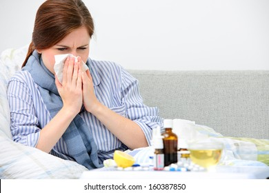 Sick woman lying in bed with high fever. Cold flu and migraine