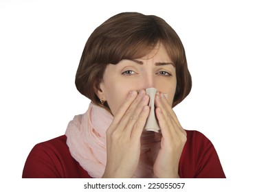 sick woman on isolated white background