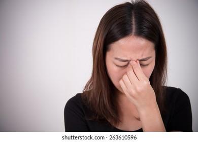 sick woman with pain, headache, migraine, stress, insomnia, hangover