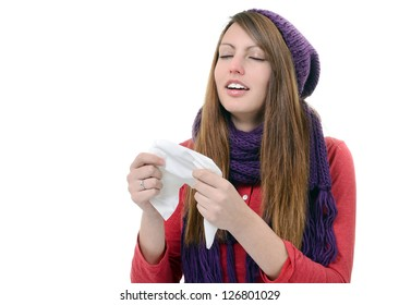 Sick Woman.Flu.Woman Caught Cold. Sneezing into handkerchief. Headache. Virus .Medicines