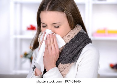 Sick Woman.Flu.Woman Caught Cold. Sneezing into Tissue. Headache. Virus .Medicines