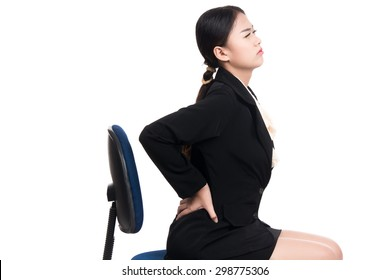Sick young business asian woman with suffering from backache,backbone pain with blank copy space,Thai girl,isolated on white background