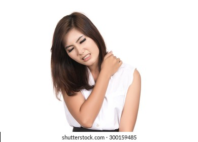 Sick young business asian woman suffering from neck pain with blank copy space,Thai girl,isolated on white background