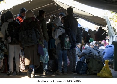 SID, SERBIA - OCTOBER 31, 2015: Refugees waiting to cross the Serbo-Croatian border between the cities of Sid (Serbia) and Bapska (Croatia).