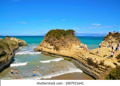 SIDARI, CORFU, GREECE. SEPTEMBER 12, 2017. Rock formation of canal d'amour in sidari, corfu,greece