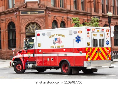 The side of an ambulance in Washington DC taken May 30 2018