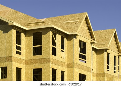 side angle view of a residential building under construction