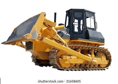 Side Of Bulldozer with raised blade isolated
