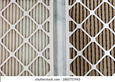 Side by side close up view of a new unused and an old heavily clogged dirty air filters. Image emphasizes the role of framed filters in improving air quality and preventing respiratory problems.