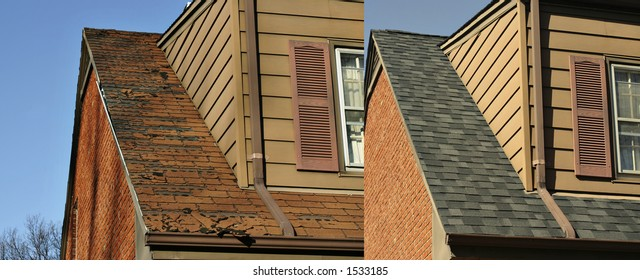 Side by side comparison of before and after roofing job