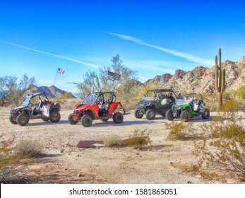 Side By Sides Stopping In The Desert
