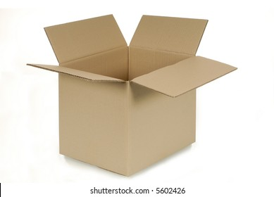 Side corner view of an open plain brown blank cardboard box isolated on a white background.  Space for copy.
