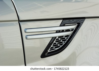Side detail of a luxury British SUV. Air intake.