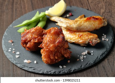 side dish (karaage,grilled chicken wings,edamame)