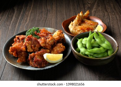 side dishes (karaage,grilled chicken wings,edamame)