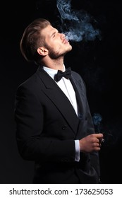 side of an elegant man enjoying his cigar on dark studio background