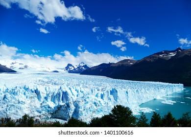side and elevated view of Perito Moreno Glacier, Patagonia, Argentina