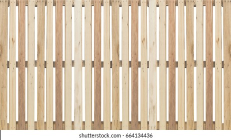 side elevation of isolated wood fence facade pattern background