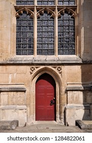 A side entrance to St Edmundsbury Cathedral built in 1503 with later alterations at Bury St Edmunds in the English county of Suffolk, England, UK