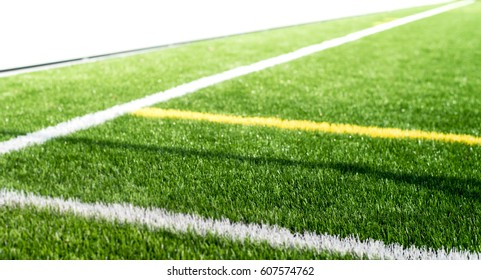 A side football field close up of lines and marks