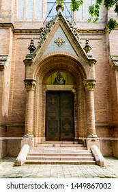 Side gates of St. Laszlo Church.  Almost all decoration by ceramics. On of the kind in the world.  Budapest Hungary