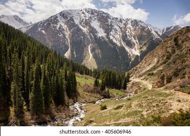 Side gorge in Altyn arashan mountain valley, Tian Shan mountain, Kyrgyzstan