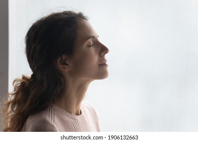 Side head shot view mindful smiling beautiful young woman breathing fresh air, standing near window. Happy millennial caucasian lady enjoying meditation moment, feeling peaceful indoors, copy space.