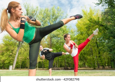 Side kicks on tae bo training